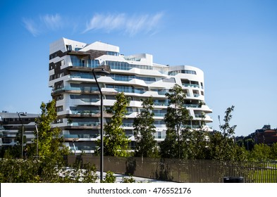 MILAN, ITALY, AUG, 2016: Modern residential building houses of City Life residential district, in Milan.