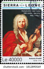 Milan, Italy - August 01, 2020: Portrait of italian composer Antonio Vivaldi on stamp