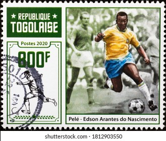 Milan, Italy - August 01, 2020: Pelé in action as a football player on postage stamp
