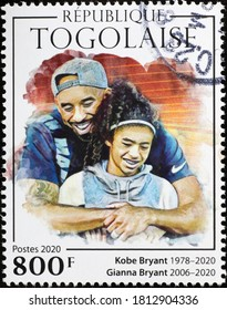 Milan, Italy - August 01, 2020: Kobe and Gianna Bryant on postage stamp of Togo