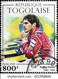 Milan, Italy - August 01, 2020: Portrait of Ayrton Senna on postage stamp of Togo
