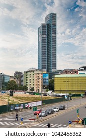 Milan, Italy - August 10, 2017: Palazzo Lombardia (Lombardy Building), the main seat of the government of Lombardy and via Melchiorre Gioia. Modern skyscraper in Milan