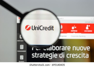 Milan, Italy - August 10, 2017: Unicredit bank website homepage. It s an Italian global banking and financial services company. Unicredit bank logo visible.