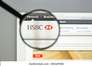 Milan, Italy - August 10, 2017: Hsbc bank website homepage. It is part of a Britishâ??Hong Kong multinational banking and financial services holding company. Hsbc bank logo visible.