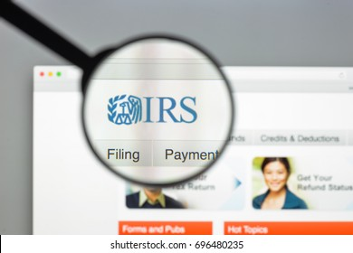 Milan, Italy - August 10, 2017: IRS website homepage. It is the revenue service of the United States federal government. Irs logo visible.