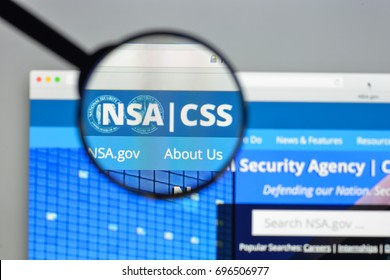 Milan, Italy - August 10, 2017: NSA website homepage. It national-level intelligence agency of the United States Department of Defense. NSA logo visible.