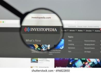 Milan, Italy - August 10, 2017: Investopedia website homepage.  Investopedia logo visible.