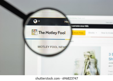 Milan, Italy - August 10, 2017: Fool.com website homepage. It is a multimedia financial-services company that provides financial advice for investors. Fool.com logo visible.