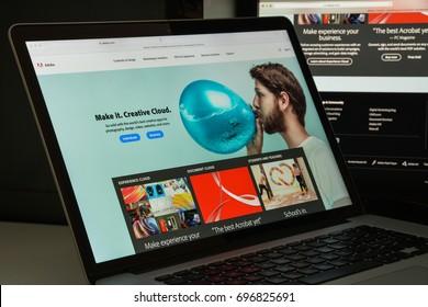 Milan, Italy - August 10, 2017: Adobe website homepage. Adobe logo visible.