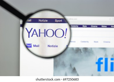 Milan, Italy - August 10, 2017: Yahoo website homepage. It is a web services provider. Yahoo logo visible.