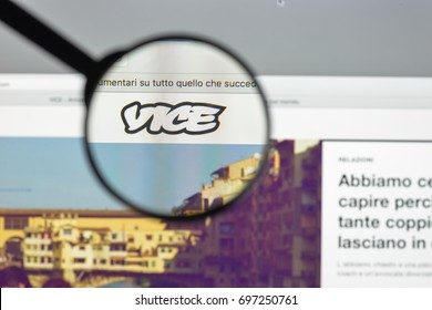 Milan, Italy - August 10, 2017: Vice.com website homepage. It is a print magazine and website focused on arts, culture, and news topics. Vice logo visible.
