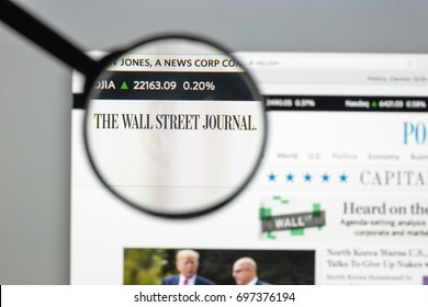 Milan, Italy - August 10, 2017: Wall Street Journal website homepage. It is an American business-focused, English-language international daily newspaper. WSJ logo visible.
