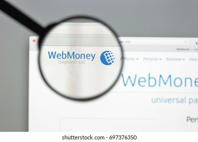 Milan, Italy - August 10, 2017: Wm transfer website homepage. It is a cloud-based computer file transfer service. Wm transfer logo visible.