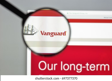 Milan, Italy - August 10, 2017: Vanguard website homepage. It is an American investment management company based in Malvern. Vanguard logo visible.