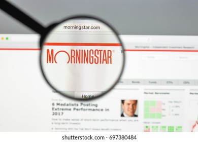 Milan, Italy - August 10, 2017: Morningstar website homepage. Morningstar logo visible.