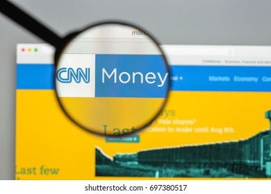 Milan, Italy - August 10, 2017: Money.cnn website homepage.  Money.Cnn logo visible.