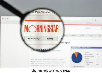 Milan, Italy - August 10, 2017: Morningstar website homepage. Morningstar logo visible.