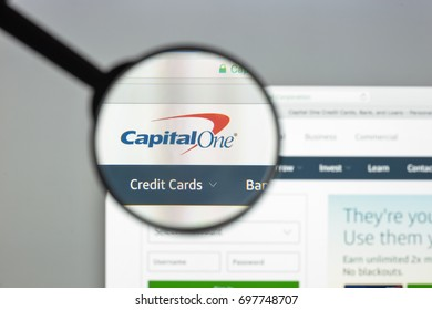 Milan, Italy - August 10, 2017: Capitalone bank website. Capital One Financial Corporation is a bank holding company specializing in credit cards, home loans, auto loans, banking and savings.