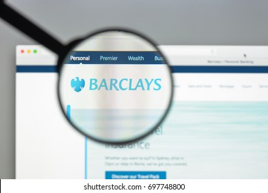 Milan, Italy - August 10, 2017: Barclays bank website homepage. It is a British multinational bank and financial services company headquartered in London. Barclays bank logo visible.