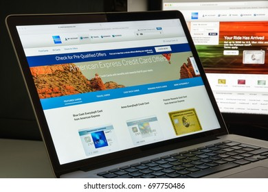 Milan, Italy - August 10, 2017: American express bank website homepage. Also known as Amex, is an American multinational financial services corporation headquartered in Three World Financial Center