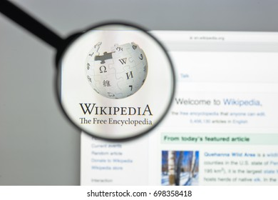 Milan, Italy - August 10, 2017: Wikipedia website homepage. It is a free online encyclopedia with the aim to allow anyone to edit articles. Wikipedia logo visible.