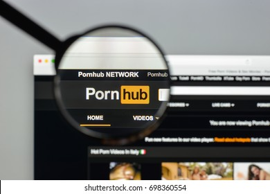 Milan, Italy - August 10, 2017: Pornhub website homepage. It is a pornographic video sharing website and the largest pornography site on the Internet. Pornhub logo visible.