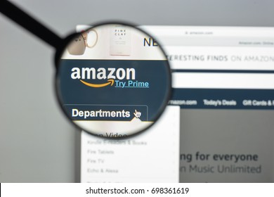 Milan, Italy - August 10, 2017: Amazon website homepage. It is an American electronic commerce and cloud computing company. Amazon.com logo visible.