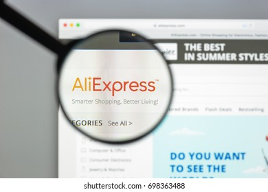 Milan, Italy - August 10, 2017: Aliexpress website. It is an online retail service made up of small businesses in China and elsewhere offering products to international buyers Aliexpress logo visible.