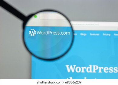 Milan, Italy - August 10, 2017: Wordpress website homepage. It is a free and open-source content management system (CMS) based on PHP and MySQL. Wordpress logo visible.