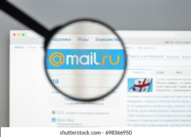 Milan, Italy - August 10, 2017: Mail.ru website homepage. It is a Russian Internet company. Mail.ru logo visible.