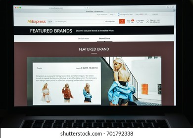 Milan, Italy - August 10, 2017: Aliexpress website. It is an online retail service made up of small businesses in China and elsewhere offering products to international online buyers. Aliexpress logo.