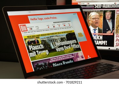 Milan, Italy - August 10, 2017: Bild website homepage. It is a German tabloid published by Axel Springer AG.. Bild logo visible.