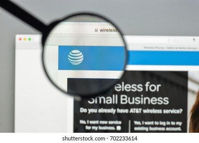 Milan, Italy - August 10, 2017: AT&T website homepage. It is an American multinational telecommunications conglomerate. AT&T logo visible.