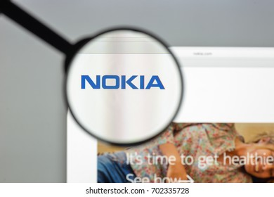 Milan, Italy - August 10, 2017: Nokia website homepage. It is a Finnish multinational communications, information technology and consumer electronics company. Nokia logo visible.