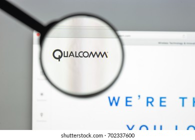 Milan, Italy - August 10, 2017: Qualcomm website homepage. It is an American multinational semiconductor and telecommunications equipment company. Qualcomm logo visible.