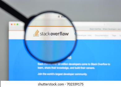 Milan, Italy - August 10, 2017: Stack overflow website homepage. It is a privately held website, the flagship site of the Stack Exchange Network. Stack overflow logo visible.
