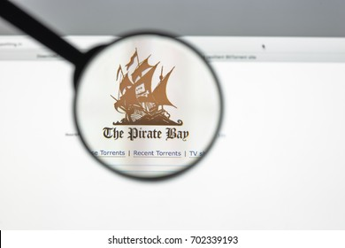 Milan, Italy - August 10, 2017: The pirate bay website homepage. It is an online index of digital content of entertainment media and software. The pirate bay logo visible.