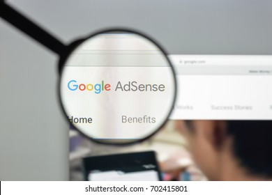 Milan, Italy - August 10, 2017: Adsense website homepage. It is a program that allows to serve automatic text, image, video, or interactive media advertisements. Google adsense logo visible.