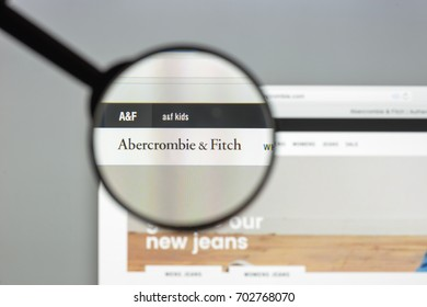 Milan, Italy August 10, 2017: Abercrombie website homepage. It an American apparel chain. Abercrombie logo visible.