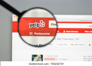 Milan, Italy - August 10, 2017: Yelp website homepage. It is an American multinational corporation. It develops, hosts and markets Yelp.com . Yelp logo visible.