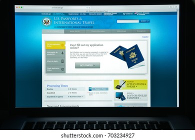 Milan, Italy - August 10, 2017: Travel state gov website homepage. Travel state.gov logo visible.
