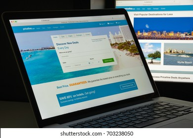 Milan, Italy - August 10, 2017: Priceline website. It is an American company and a commercial website that helps users find discount rates for travel-related purchases . Priceline logo visible.