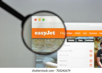 Milan, Italy - August 10, 2017: Easyjet website homepage. It is a British airline, operating under the low-cost carrier model. Easyjet logo visible.