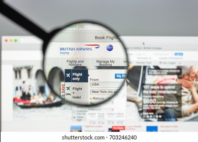 Milan, Italy - August 10, 2017: British airways website homepage. It is the largest airline in the United Kingdom based on fleet size. British airways logo visible.