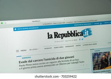 Milan, Italy - August 10, 2017: La repubblica website homepage.
