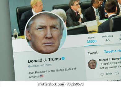 Milan, Italy - August 10, 2017: Donald Thrump's twitter website page.