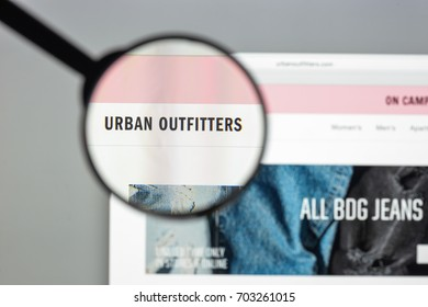 Milan, Italy - August 10, 2017: Urban outfitters website homepage. It is an American multinational clothing corporation. Urban outfitters logo visible.