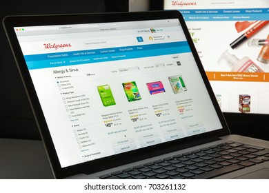 Milan, Italy - August 10, 2017: Walgreens website homepage. It is an American company which operates as the second-largest pharmacy store chain. Walgreens logo visible.