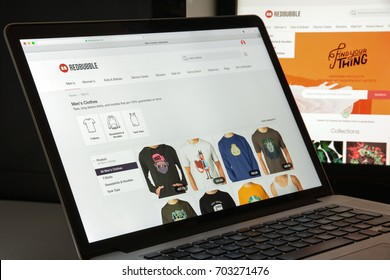 Milan, Italy - August 10, 2017: Redbubble website homepage. It is a global online marketplace for print on demand products based on user submitted artwork. Redbubble logo visible.