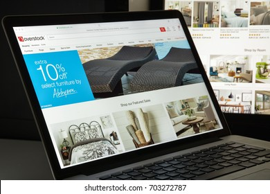 Milan, Italy - August 10, 2017: Overstock website homepage. It is an American internet retailer. Overstock logo visible.